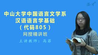 2020年中山大学中国语言文学系805汉语语言学基础网授精讲班(教材精讲+考研真题串讲)